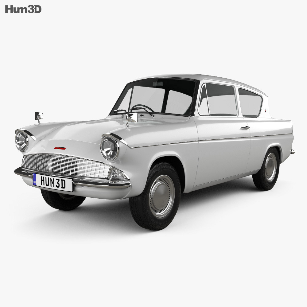 Ford anglia 105e 2 door saloon 1967 3d model