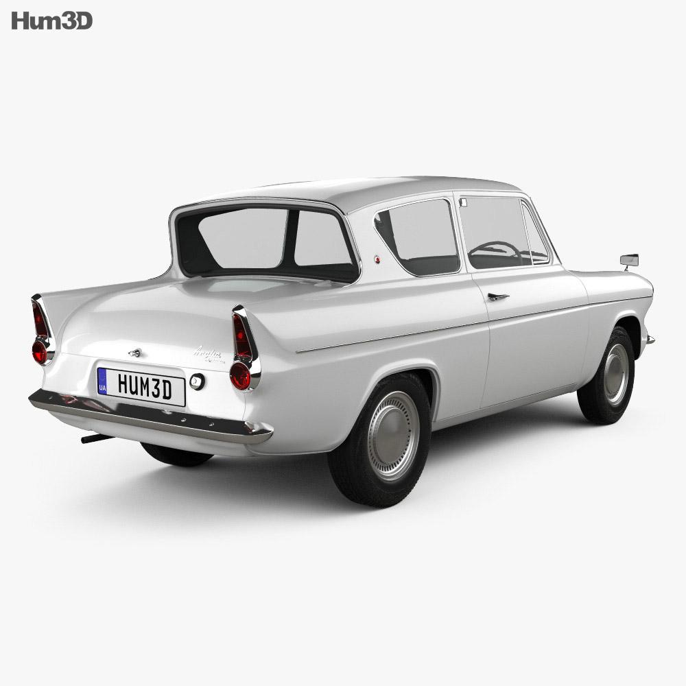 Ford Anglia 105e 2-door Saloon 1967 3d model