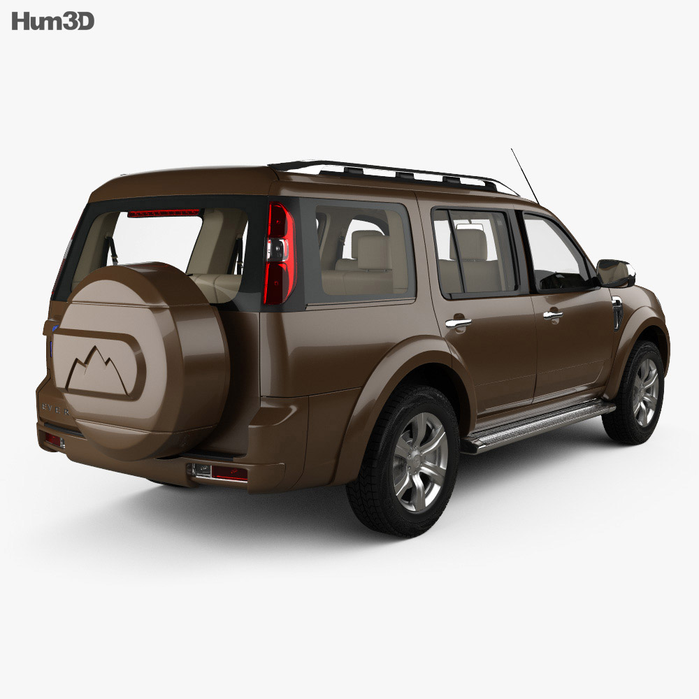 Ford Everest with HQ interior 2012 3d model back view
