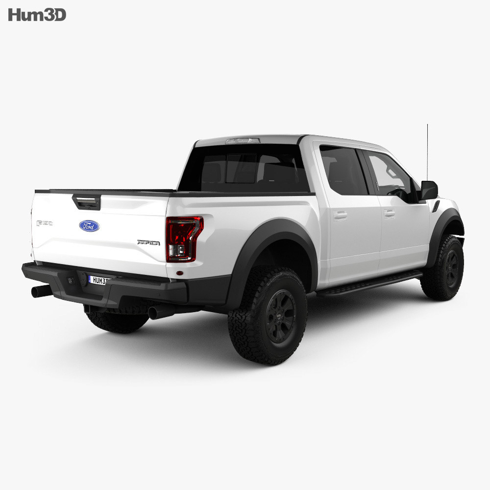 Ford F-150 Super Crew Cab Raptor with HQ interior 2016 3d model