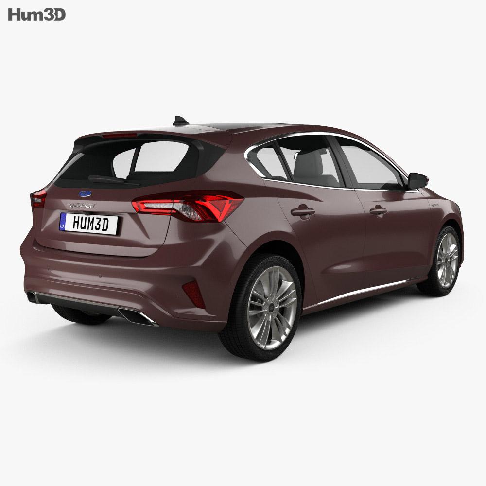 Ford Focus Vignale hatchback 2018 3d model back view