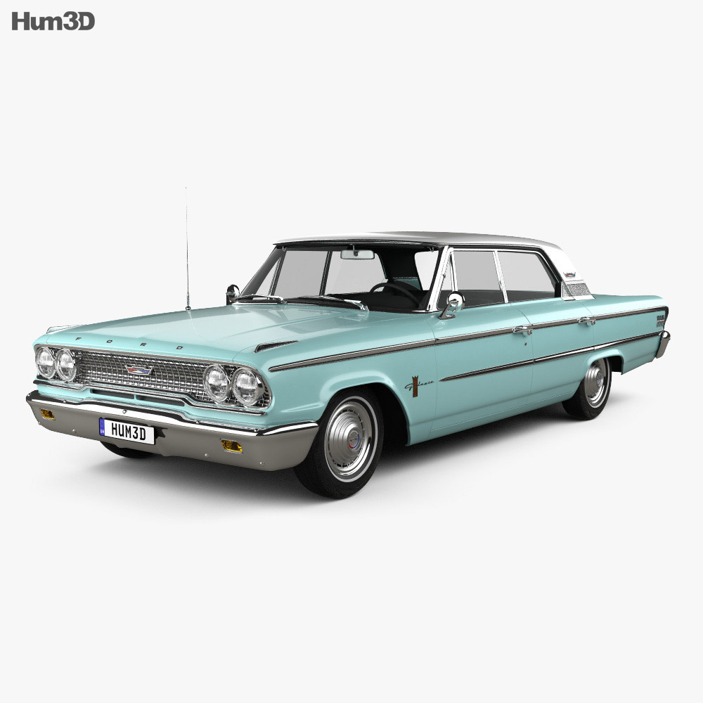 Ford Galaxie 500 hardtop with HQ interior 1963 3d model
