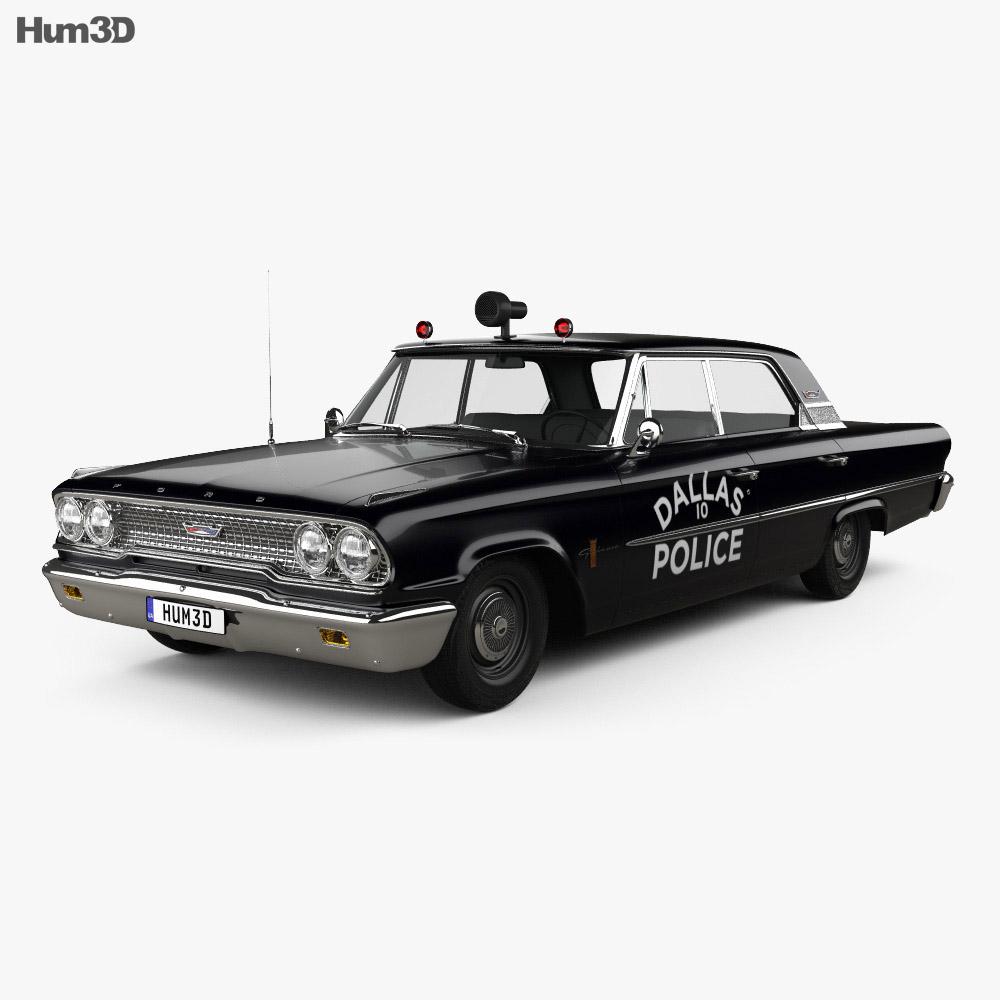 Ford Galaxie 500 Hardtop Dallas Police 4-door 1963 3d model