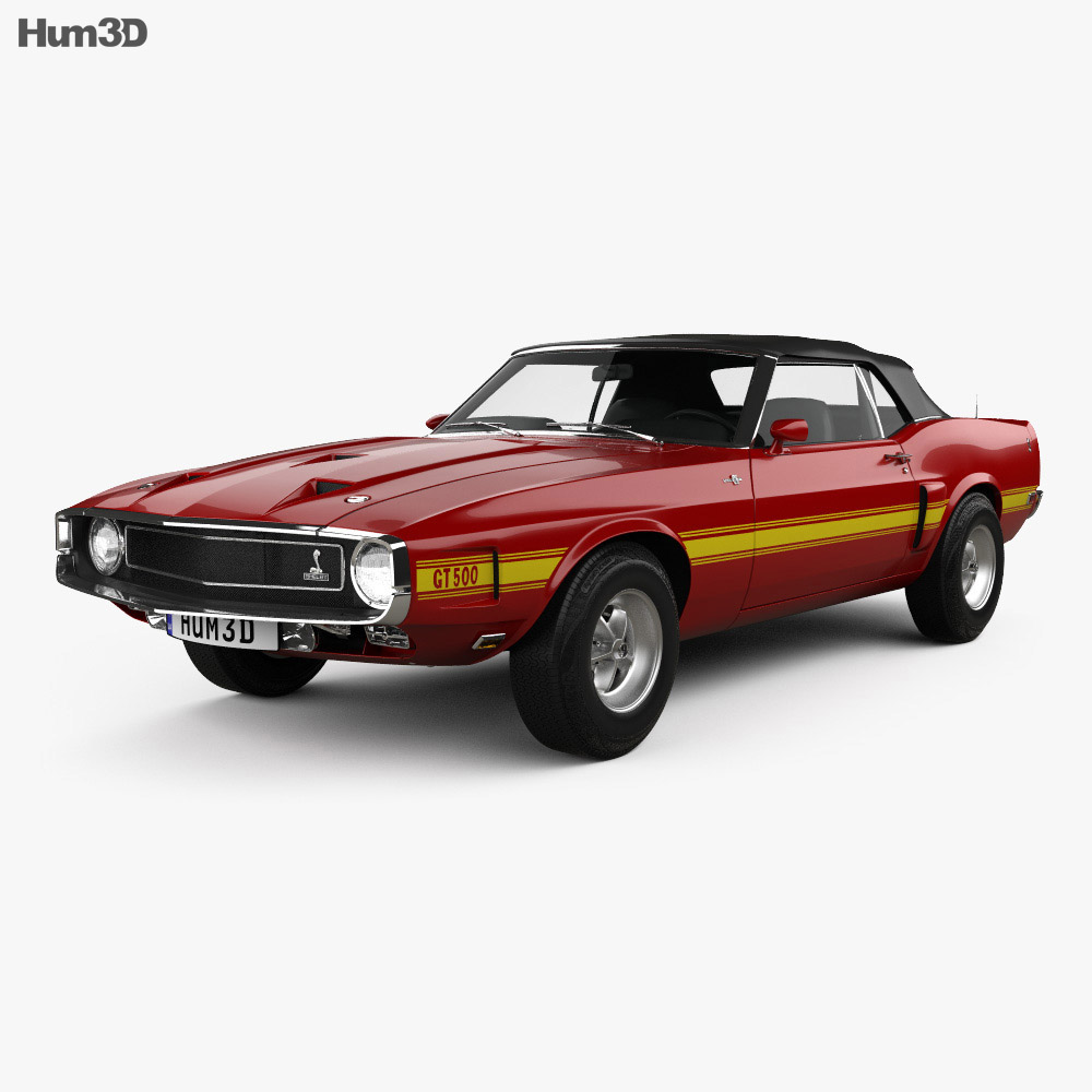 Ford mustang shelby gt500 convertible 1969 3d model vehicles on hum3d