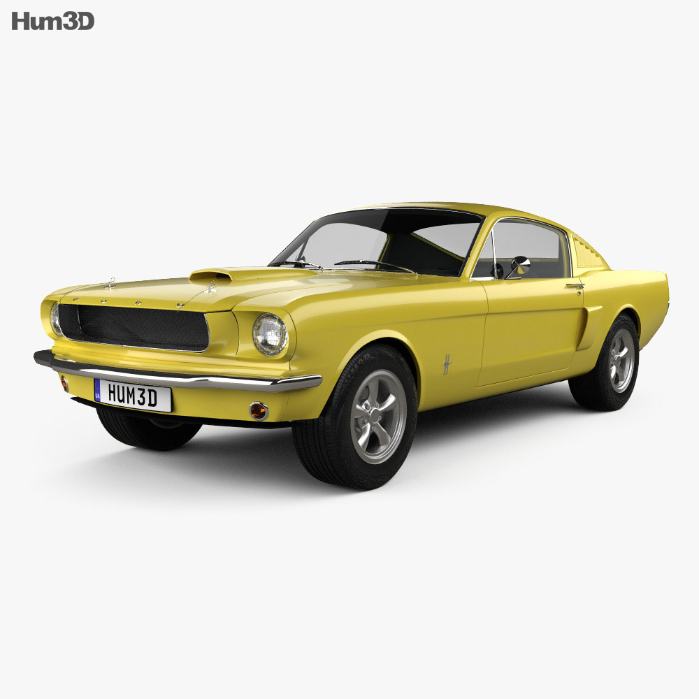 Ford mustang fastback with hq interior 1965 3d model