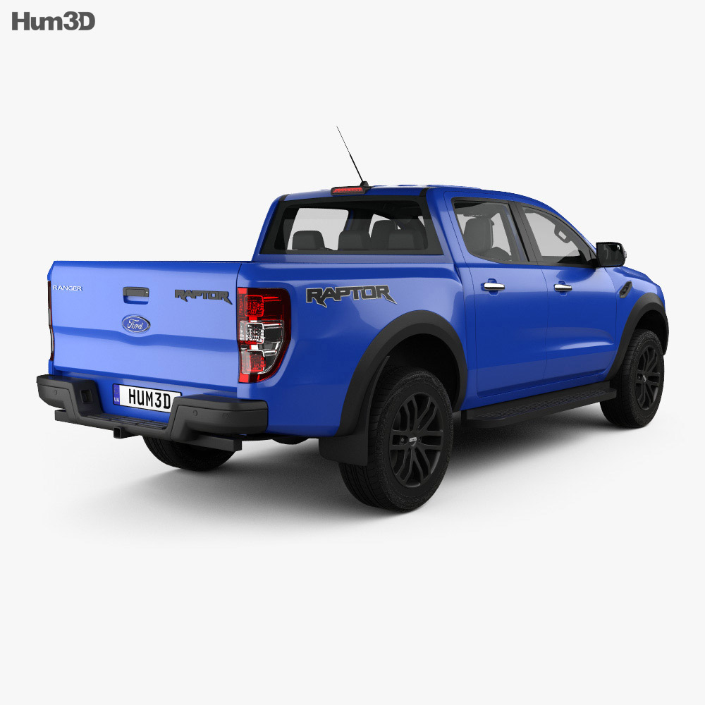 Ford Ranger Double Cab Raptor with HQ interior and engine 2018 3d model