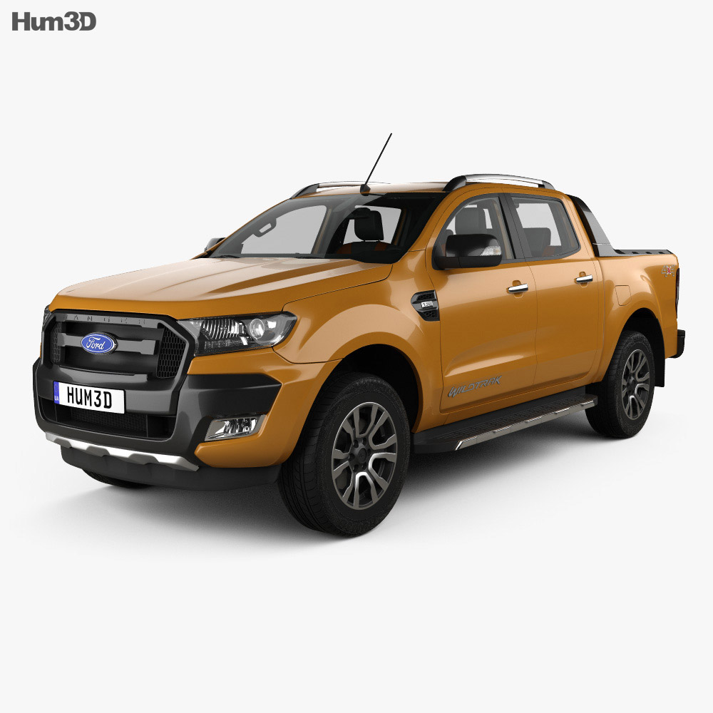 ford ranger double cab wildtrak with hq interior 2016 3d model hum3d. Black Bedroom Furniture Sets. Home Design Ideas