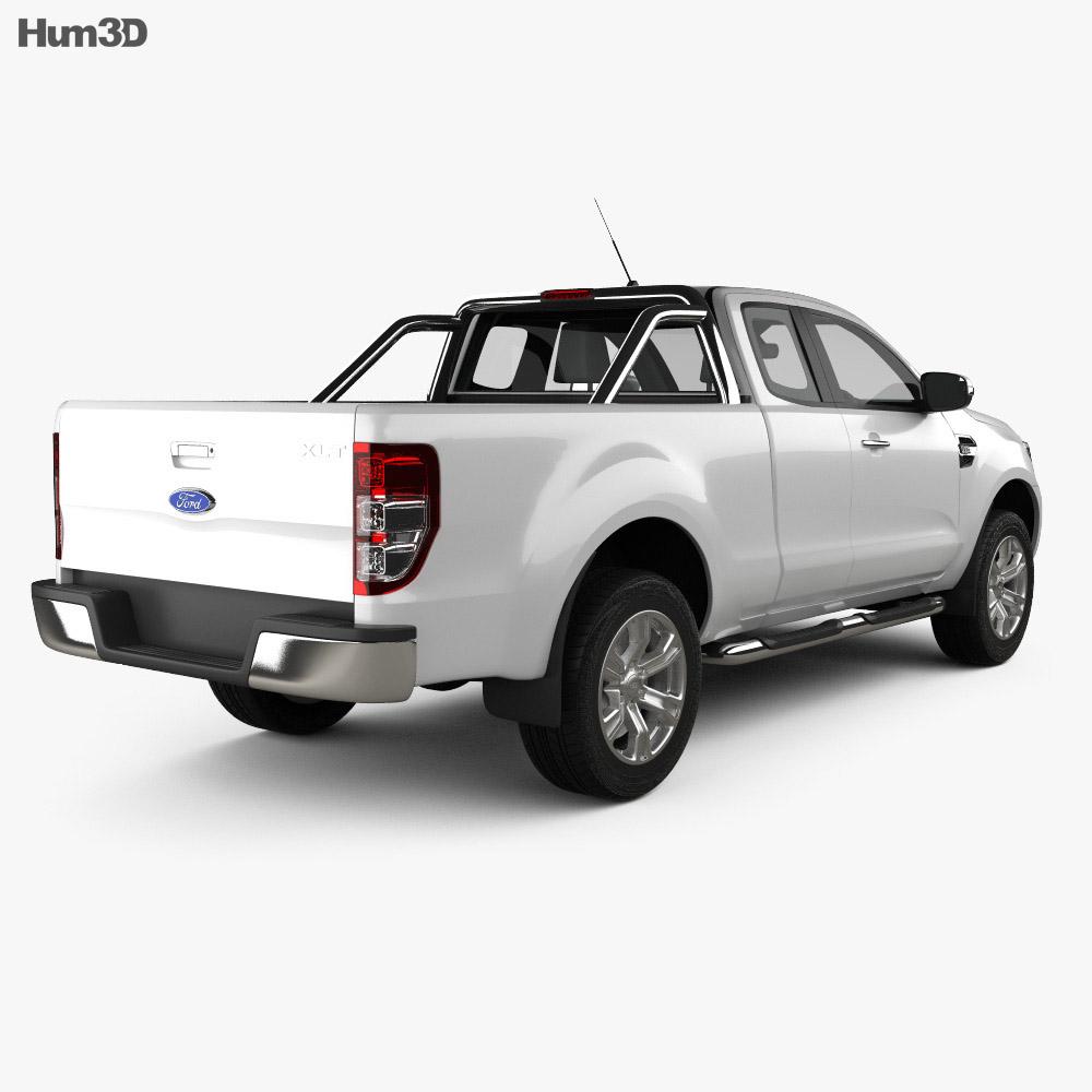 Ford Ranger Super Cab XLT 2018 3d model