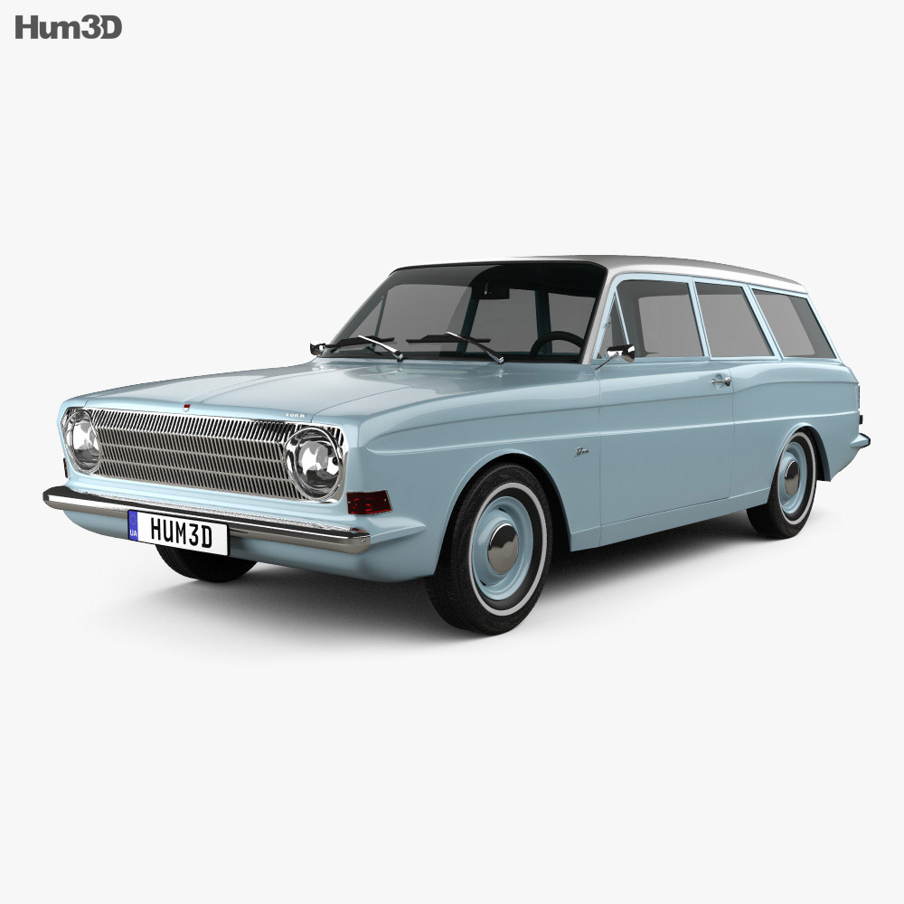 3d model of ford taunus p6 12m station wagon 1967