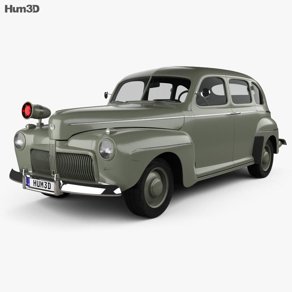 Ford v8 super deluxe tudor sedan army staff car 1942 3d for Ford motor vehicle models