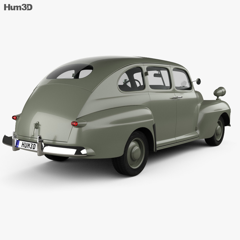 Ford V8 Super Deluxe Tudor sedan Army Staff Car 1942 Modèle 3d vue arrière