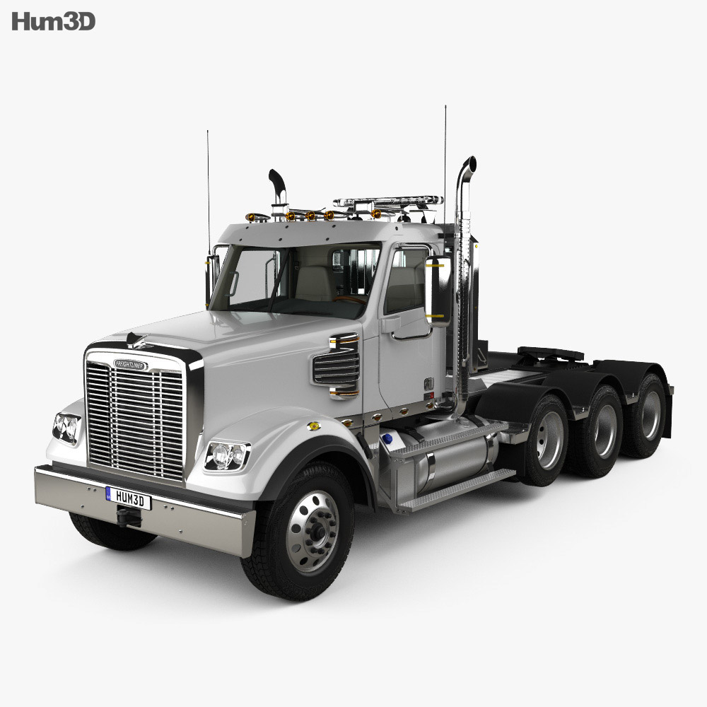 Freightliner 122SD SF Day Cab Tractor Truck with HQ interior 2017 3d model