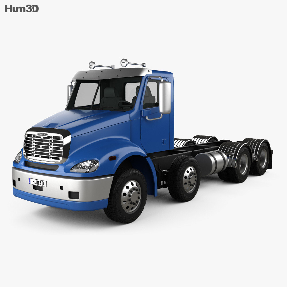 Freightliner Columbia Chassis Truck 4-axle 2018 3d model