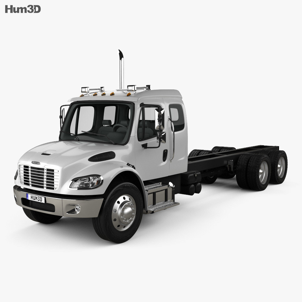 Freightliner M2 Extended Cab Chassis Truck 3-axle 2014 3d model