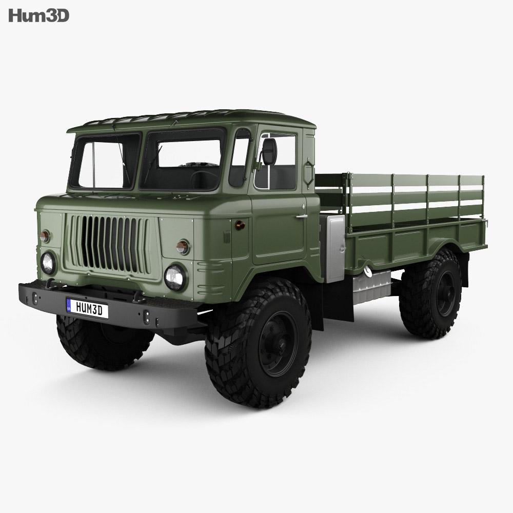 Gaz 66 Flatbed Truck 1964 3d Model Humster3d