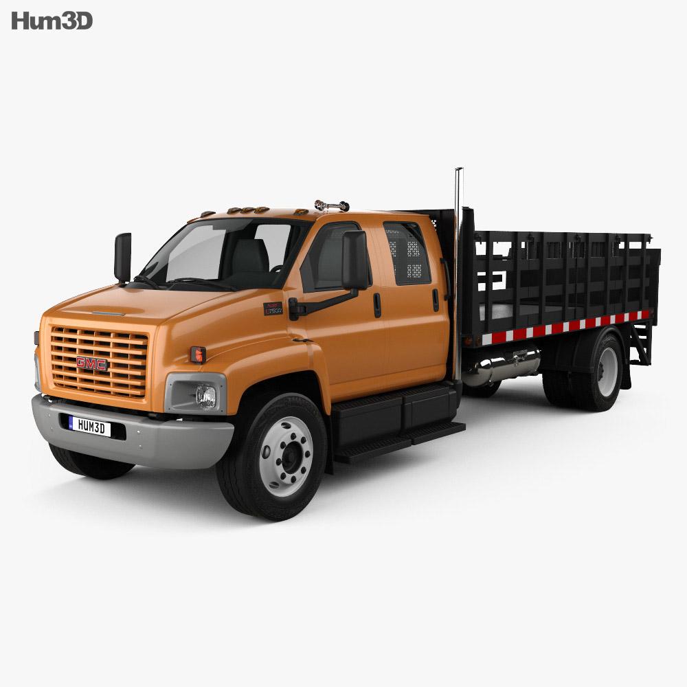 gmc topkick c7500 crew cab flatbed truck 2005 3d model hum3d. Black Bedroom Furniture Sets. Home Design Ideas