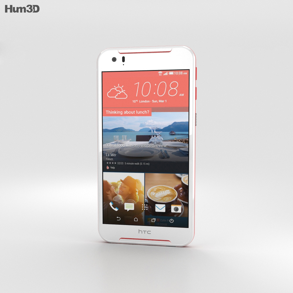 HTC Desire 830 White/Red 3d model
