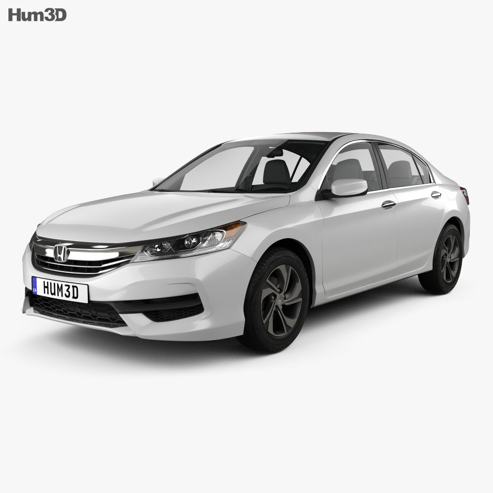 Honda accord lx with hq interior 2016 3d model hum3d for Honda 2016 models