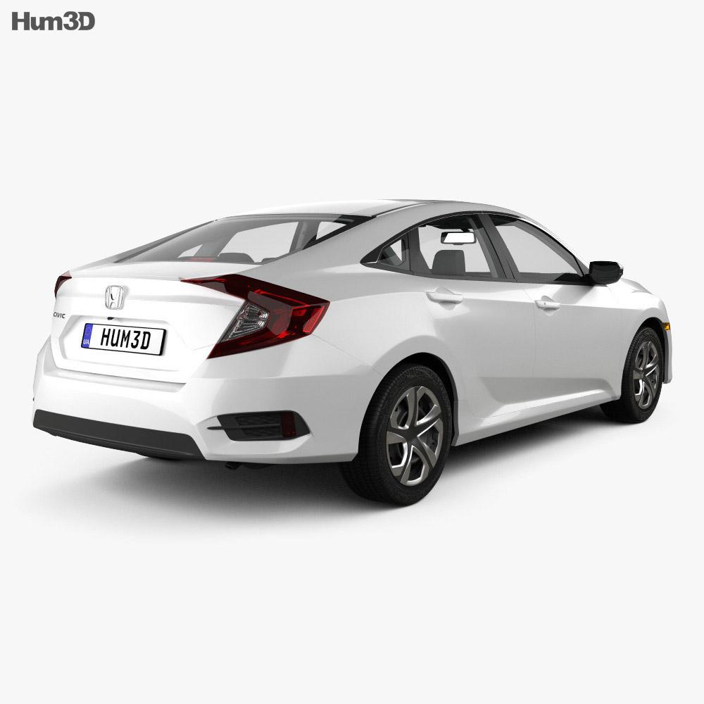 Honda Civic LX with HQ interior 2016 3d model