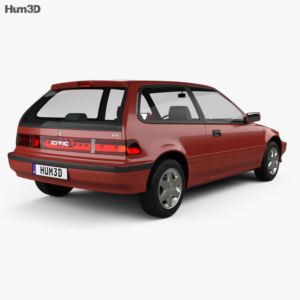 Honda Civic hatchback 1987 3d model