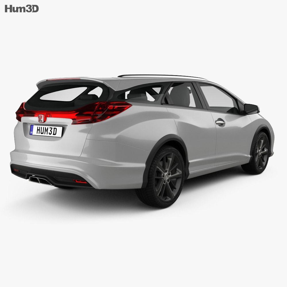 Honda Civic tourer 2013 3D模型 后视图