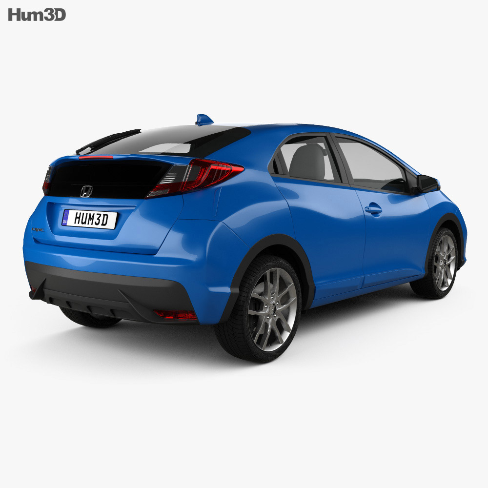 Honda Civic hatchback 2015 3d model back view