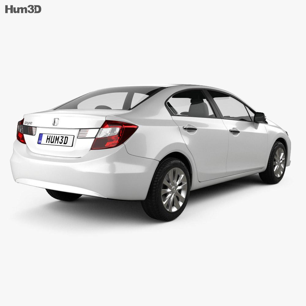 Honda Civic sedan 2012 3d model back view