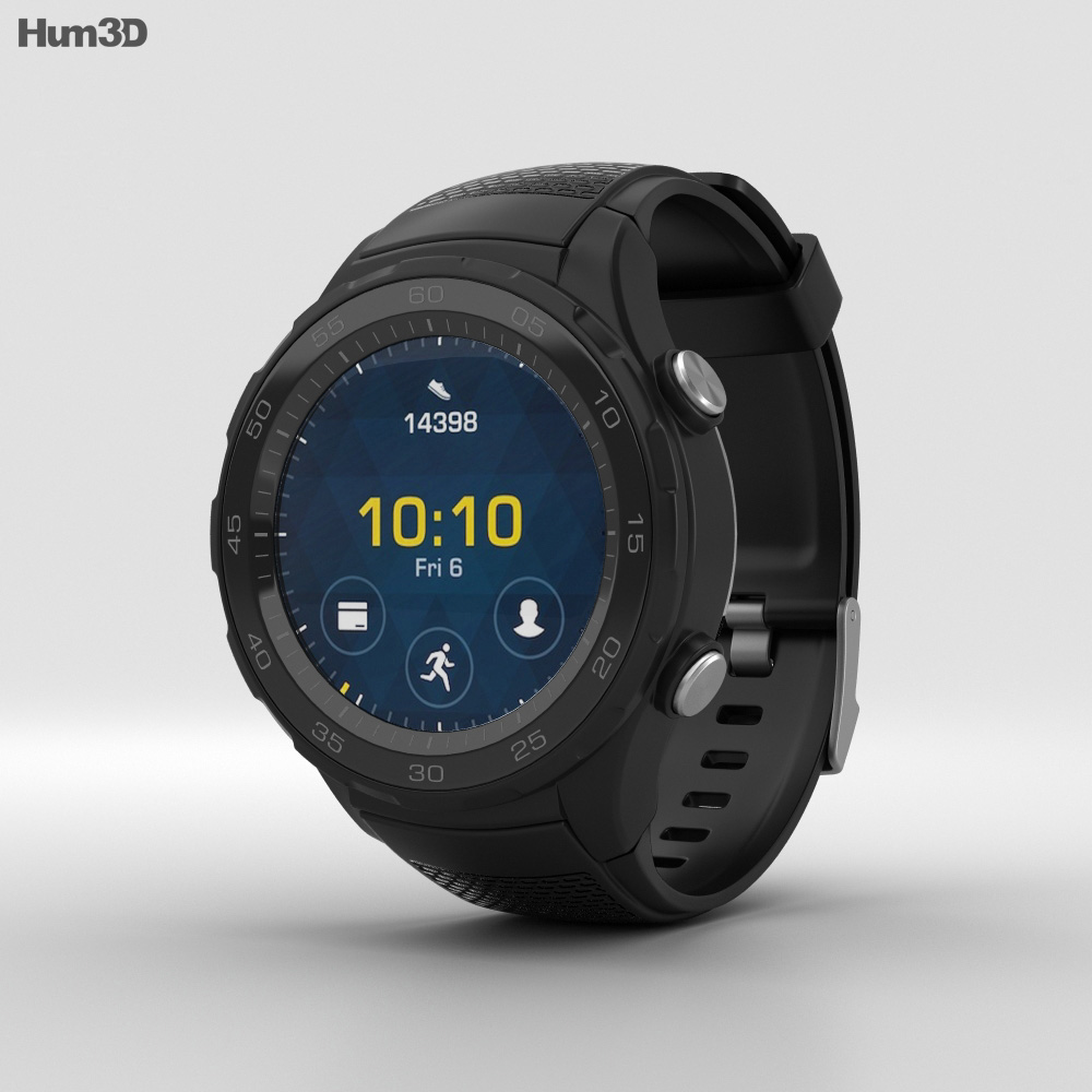 3D model of Huawei Watch 2 Carbon Black