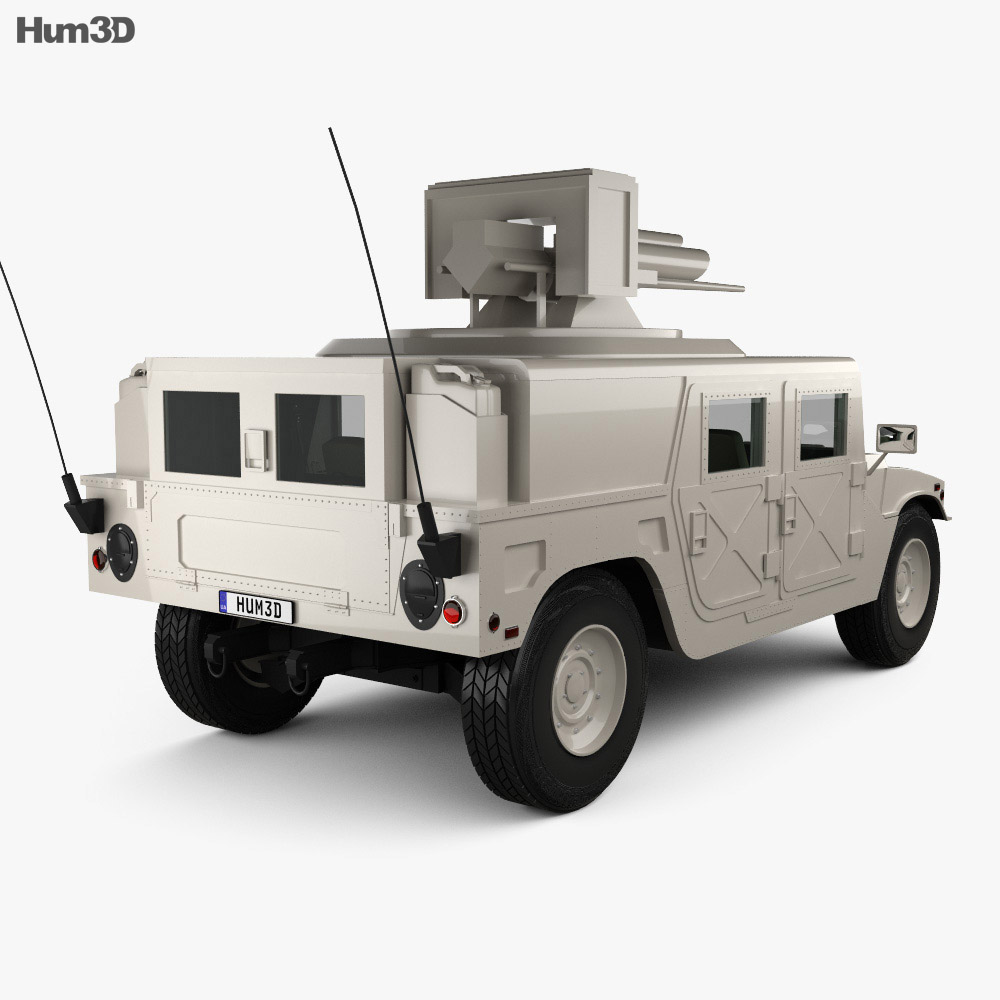 Hummer H1 M242 Bushmaster with HQ interior 2011 3d model