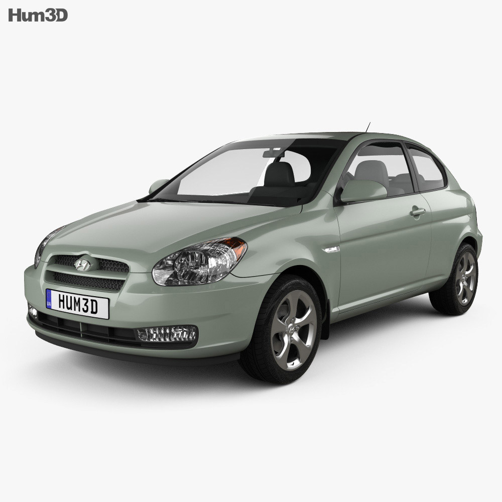 Hyundai Accent (MC) hatchback 3-door 2006 3d model