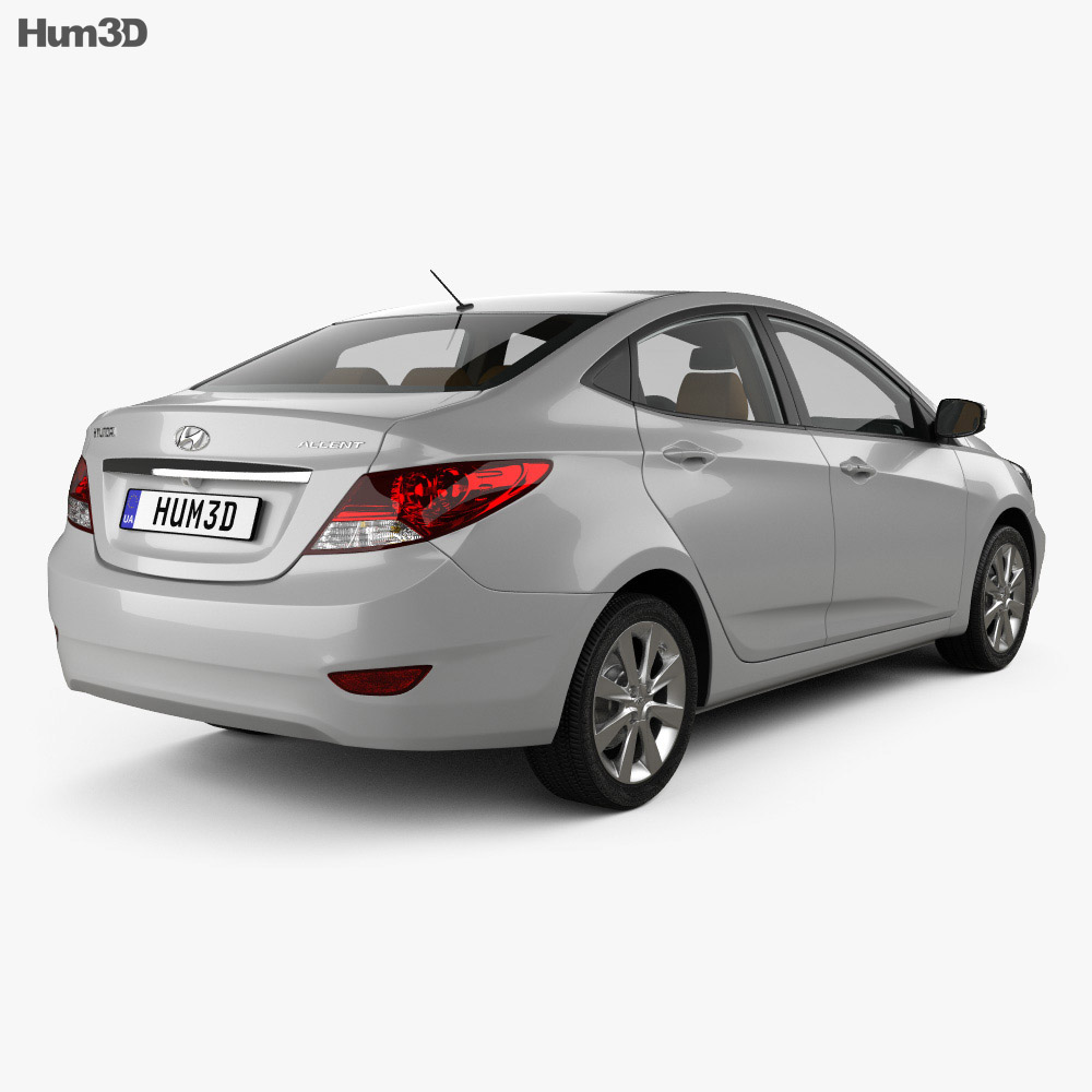 Hyundai Accent (RB) sedan with HQ interior 2014 3d model