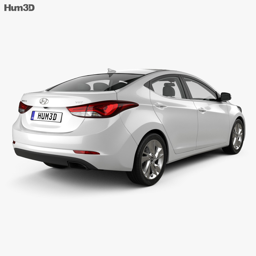 Hyundai Avante (MD) sedan with HQ interior 2014 3d model
