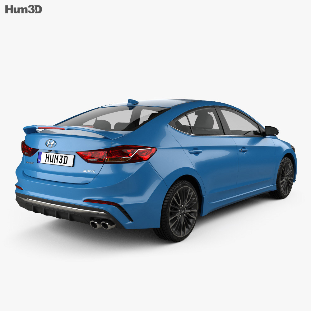 Hyundai Avante Sport with HQ interior 2017 3d model back view