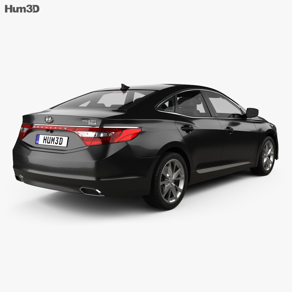 Hyundai Grandeur (HG) with HQ interior 2014 3d model back view