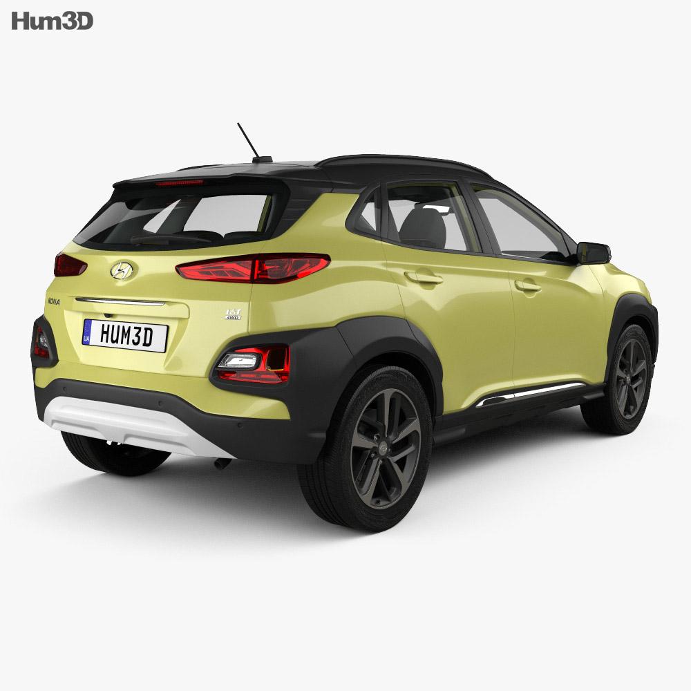 Hyundai Kona with HQ interior 2018 3d model