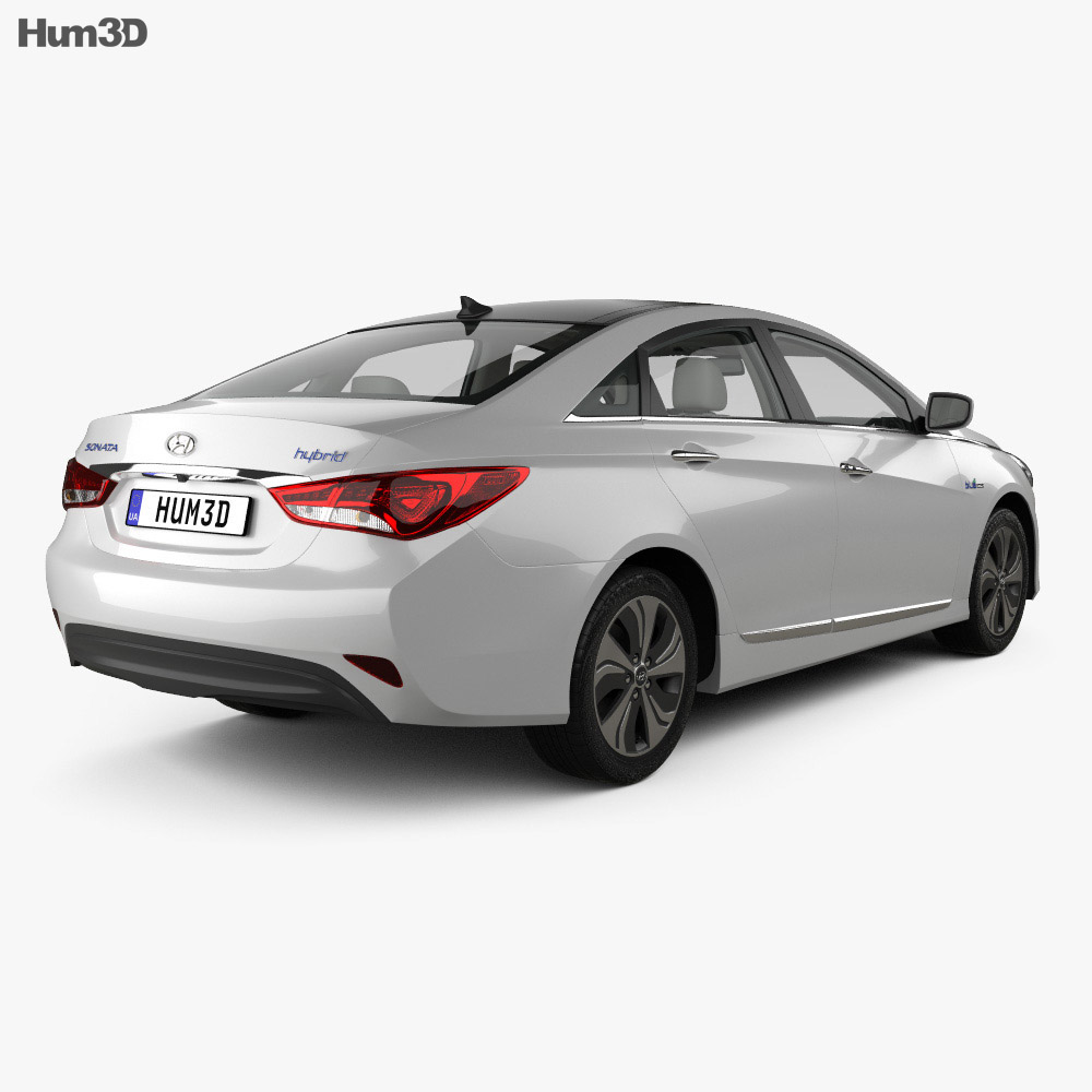 ... Hyundai Sonata (YF) Hybrid With HQ Interior 2015 3d Model