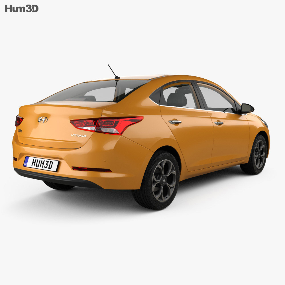 Hyundai Verna CN-spec sedan with HQ interior 2017 3d model