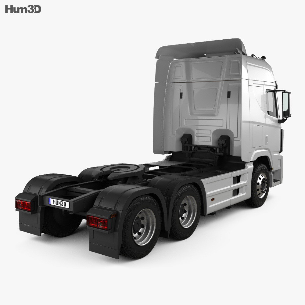 Hyundai Xcient P520 Tractor Truck with HQ interior 2013 3d model