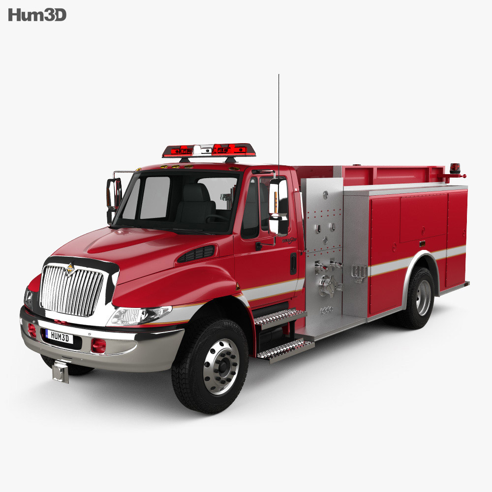 International Durastar Fire Truck 2002 3d model