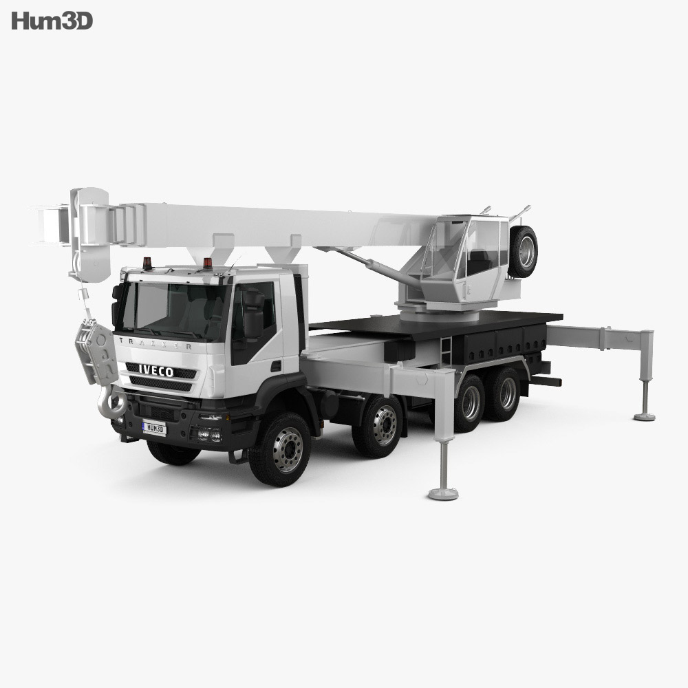 Iveco Trakker Crane Truck 2012 3d model