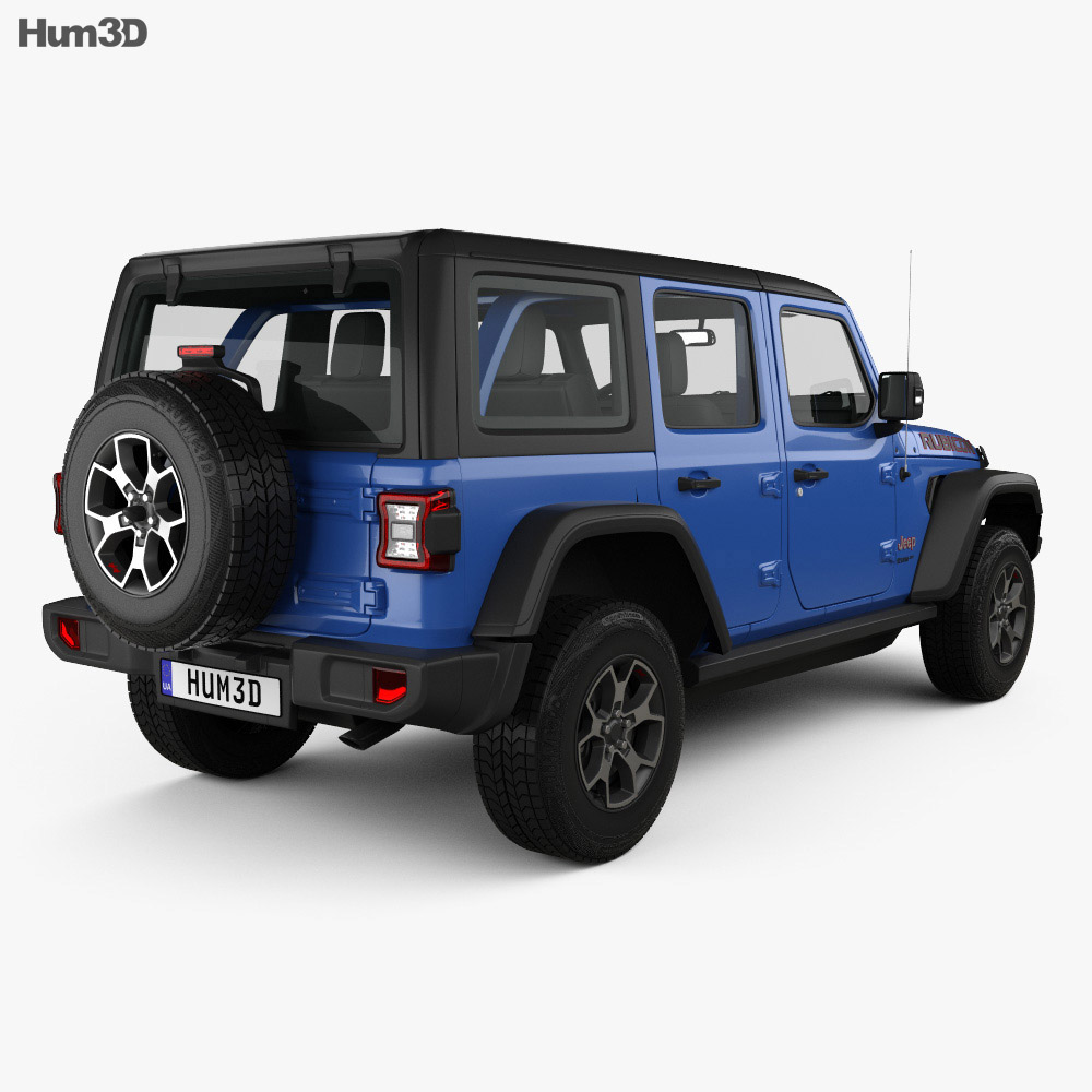 Jeep Wrangler Unlimited Rubicon 4-door 2018 3d model