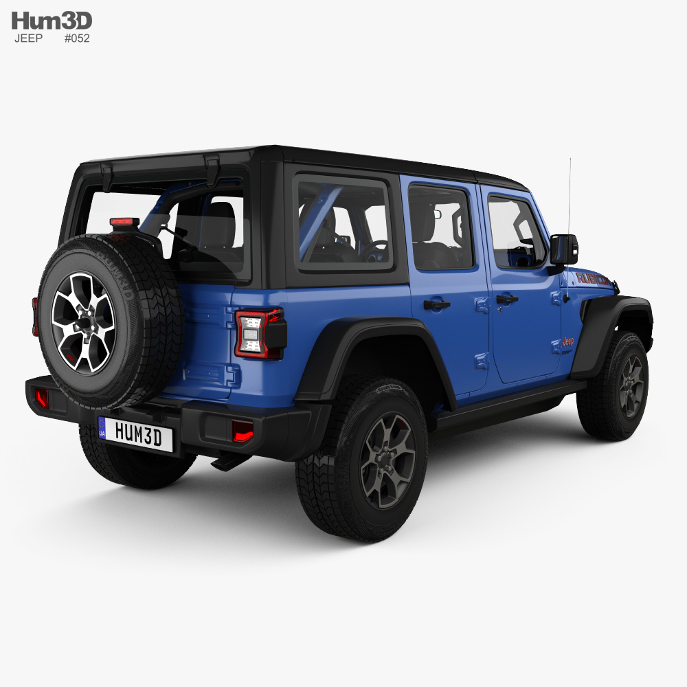 Jeep Wrangler 4-door Unlimited Rubicon with HQ interior 2018 3d model
