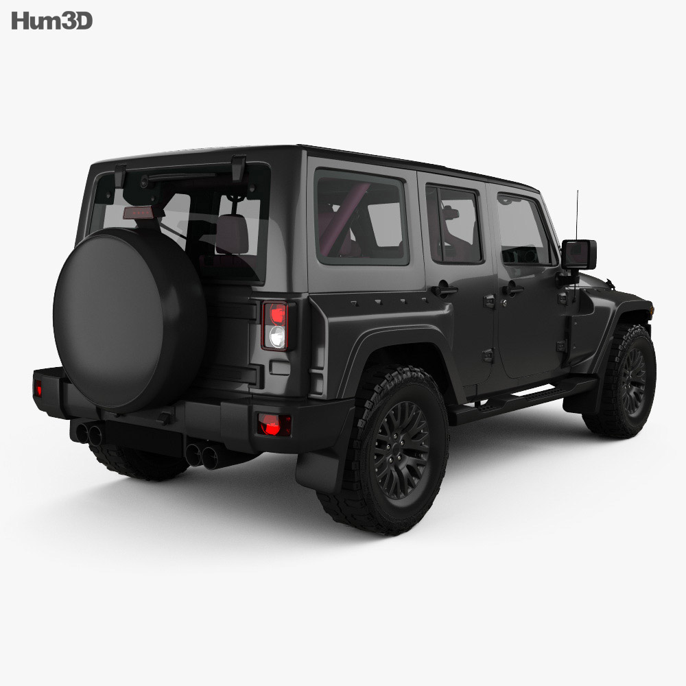 Jeep Wrangler Project Kahn JC300 Chelsea Black Hawk 4-door RHD with HQ interior 2016 3d model