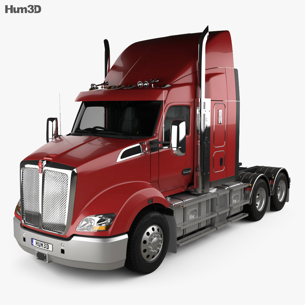Kenworth T610 Sleeper Cab Tractor Truck with HQ interior 2017 3d model