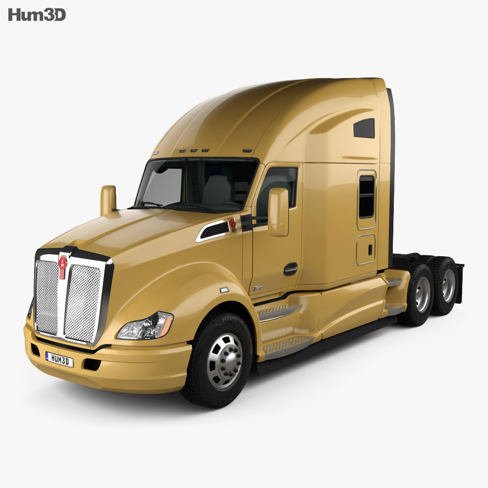 Kenworth T680 Tractor Truck with HQ interior 2012 3d model