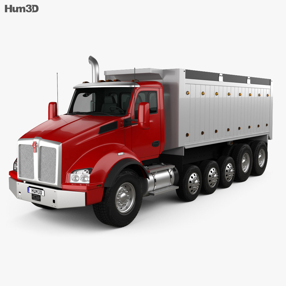 Kenworth T880 Dump Truck 6-axle 2013 3d model