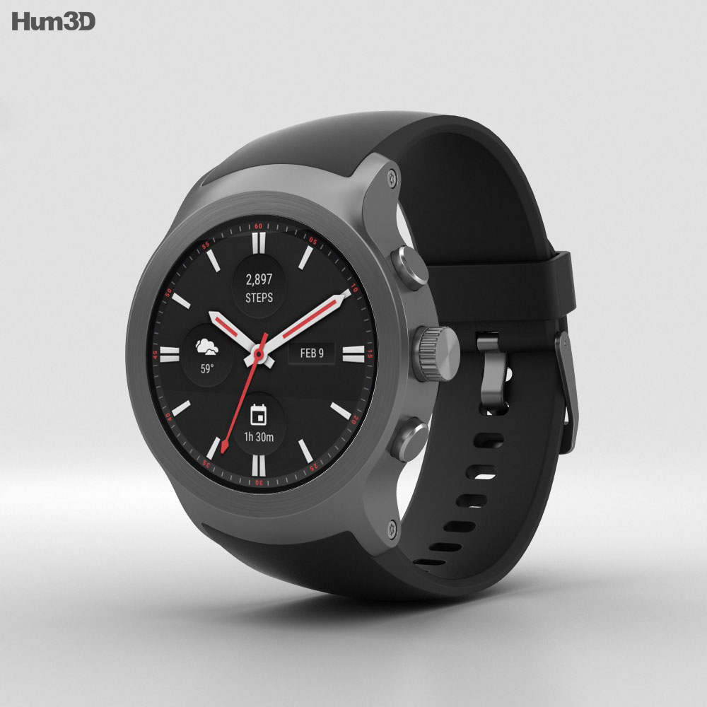 LG Watch Sport Titanium 3d model