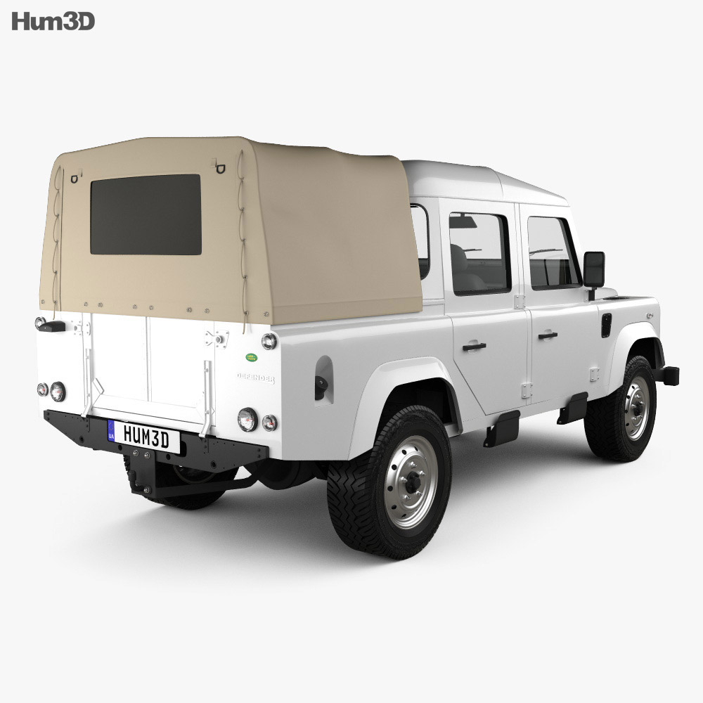 Land Rover Defender 110 Double Cab pickup 2011 3d model back view