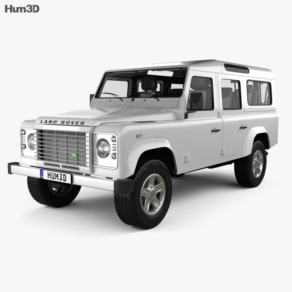 land rover defender 110 station wagon with hq interior 2011 3d model hum3d. Black Bedroom Furniture Sets. Home Design Ideas