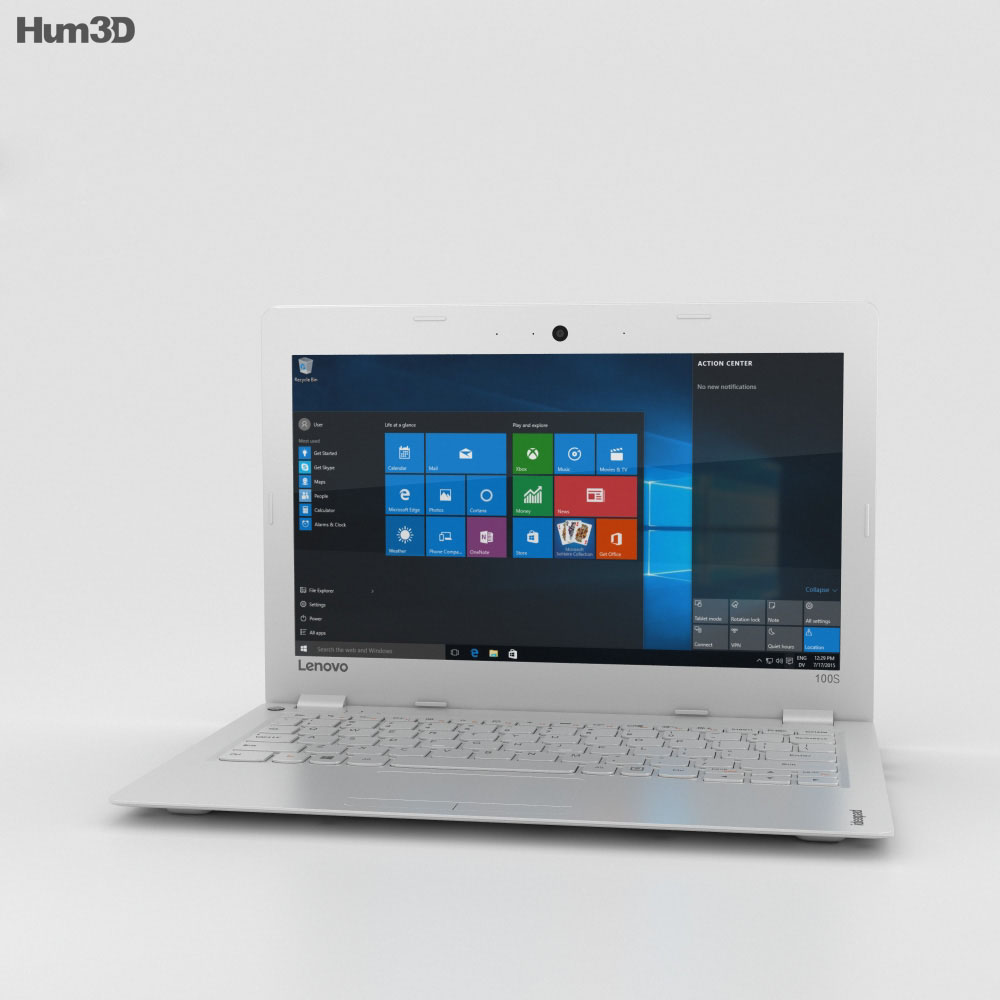 Lenovo Ideapad 100S White 3d model